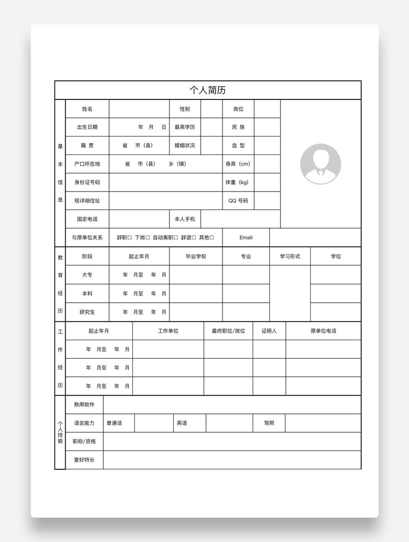 全套标准个人表格简历word空白模板