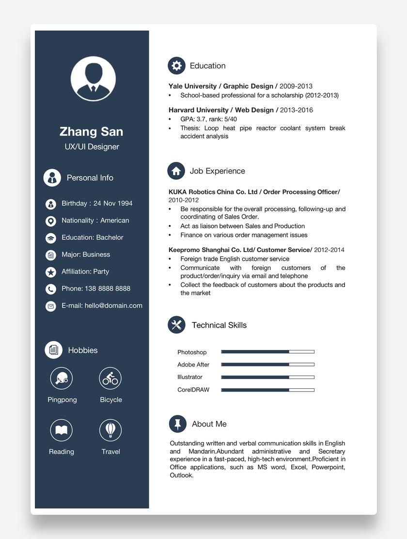 深蓝创意UI/UX设计师个人英文简历模板word简历
